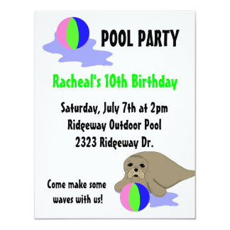Sea Lion Pool Party Invitation
