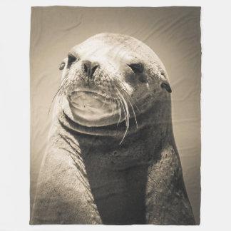 Sea lion portrait fleece blanket