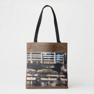 Sea Lion Tote Bag/Psalm 104:24-25