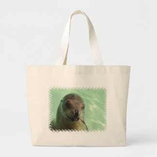 Sea Lion with Fish Canvas Bag
