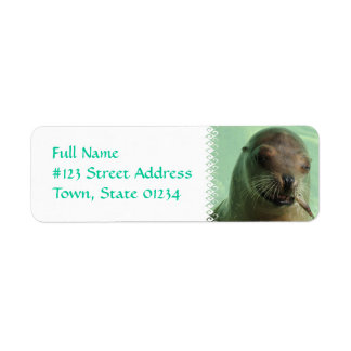 Sea Lion with Fish Return Address Label