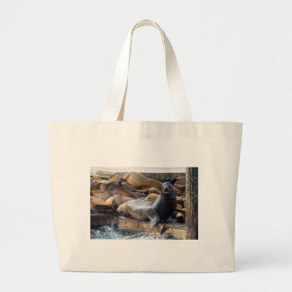Sea Lions on the Floating Dock in San Francisco Large Tote Bag