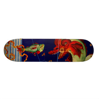 Sea Monster Fish Stars Myth Vintage Art Wall Board Skate Board Deck