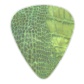 Sea Monster in Bright Green Faux Leather Pearl Celluloid Guitar Pick
