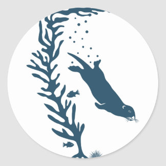 sea more otter kelp California navy forest ocean Classic Round Sticker