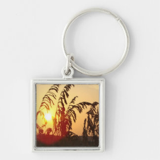 Sea Oat Sunrise Silver-Colored Square Keychain
