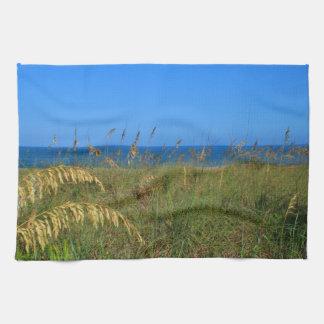 Sea oats beach dune ocean and sky photo kitchen towels