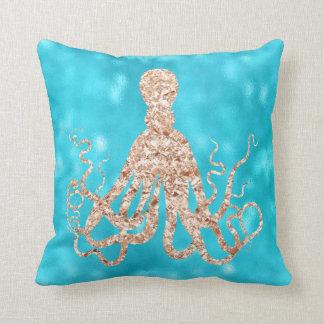 Sea Ocean Blue Aqua Turquoise Tiffany Octopus Rose Throw Pillow