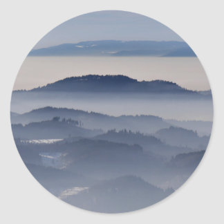 Sea of Foggy Mountains Classic Round Sticker