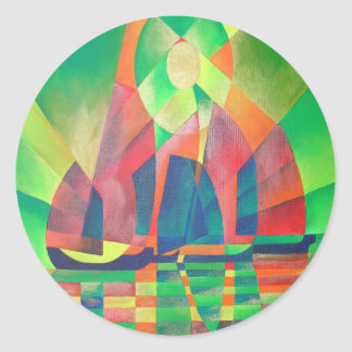 Sea of Green With Cubist Abstract Junks Classic Round Sticker