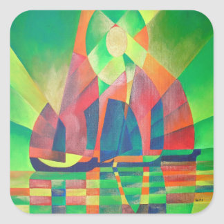 Sea of Green With Cubist Abstract Junks Square Sticker