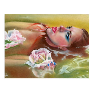Sea of roses beauty mermaid postcard