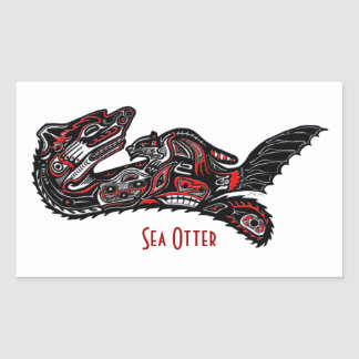 SEA OTTER & BABY (Haida Styled) Art Gift Sticker