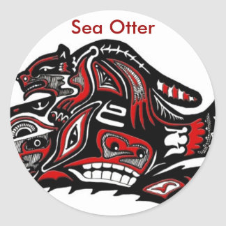 SEA OTTER & BABY (Haida Styled) Gift Range Round Sticker