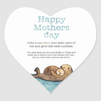 Sea otter mothers day heart sticker