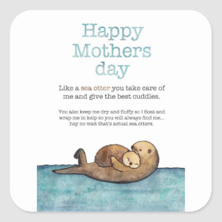 Sea otter mothers day square sticker