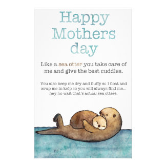 Sea otter mothers day stationery