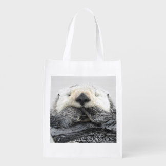 Sea Otter Sleeping Reusable Grocery Bag