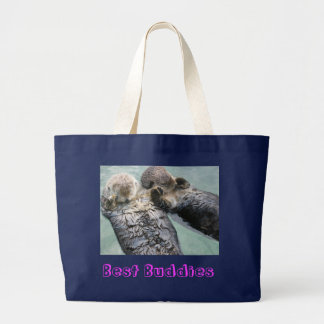 Sea otters, Best Buddies Large Tote Bag