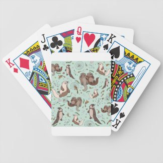 Sea otters bicycle playing cards