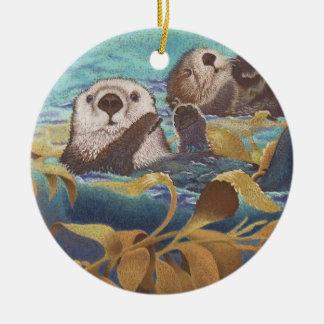sea otters ceramic ornament