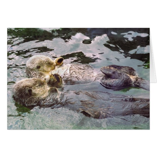 Sea Otters Holding Hands Card