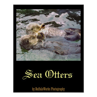 Sea Otters Holding Hands Poster