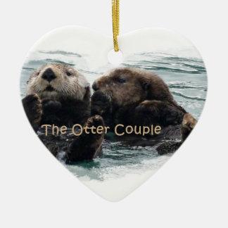 Sea Otters in a heart Ceramic Ornament