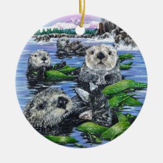 Sea Otters in Kelp Ceramic Ornament