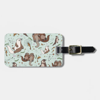 Sea otters luggage tag