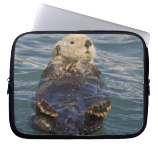 Sea otters play on icebergs at Surprise Inlet Laptop Sleeve