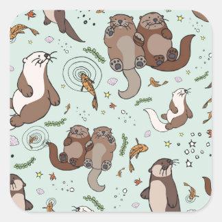 Sea otters square sticker
