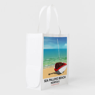 Sea Palling Beach Norfolk beach poster Reusable Grocery Bag