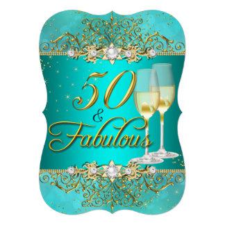 "Sea Pearl & Teal Gold Swirl 50 & Fabulous 5"" X 7"" Invitation Card"