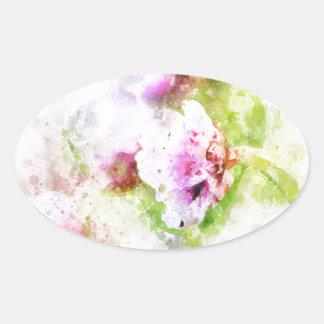Sea Pink Flower Oval Sticker