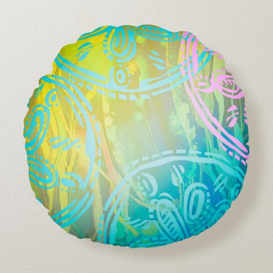 "Sea rainbow Round Throw Pillow (16"")"