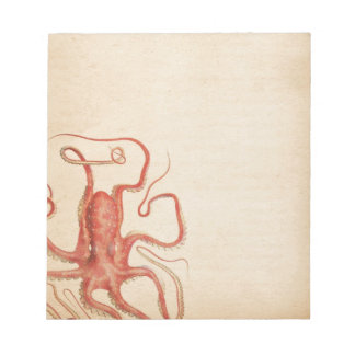 Sea Red Octopus Aged Sepia Steampunk Notepads