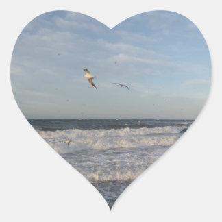 Sea & Saegulls Heart Sticker