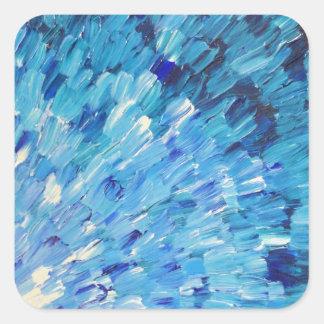 SEA SCALES IN INDIGO - Stunning Ocean Waves Blue Square Sticker