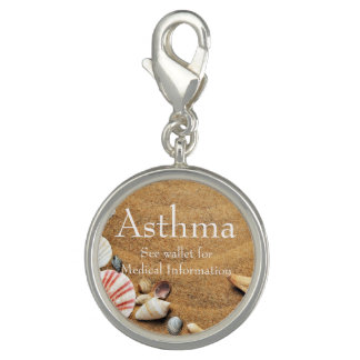 Sea Shell and Sand Asthma Medical ID Charm
