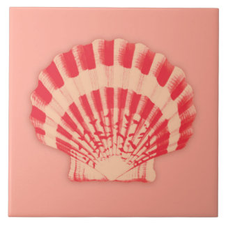 Sea shell - coral and peach tile
