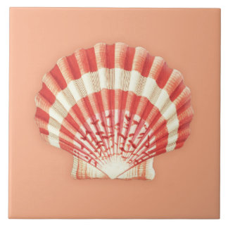 Sea Shell - coral orange and white Ceramic Tile
