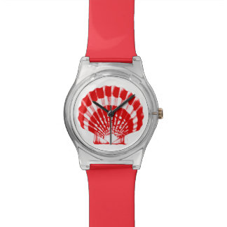 Sea Shell - deep red and white Wrist Watch