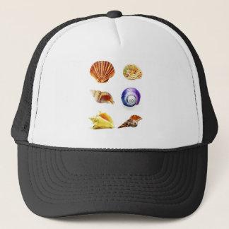sea shell design bright and colourful trucker hat