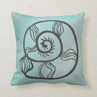 Sea Shell Line Drawing on Sea Green Throw Pillow