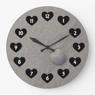Sea Shell On The Beach With Heart Wall Clock