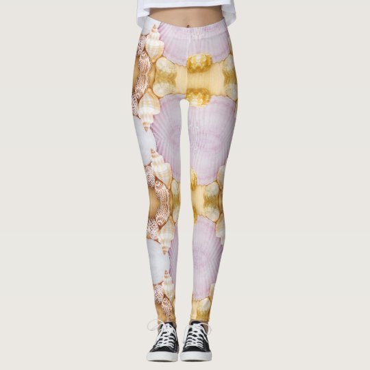 sea shell purple feminine pattern leggings