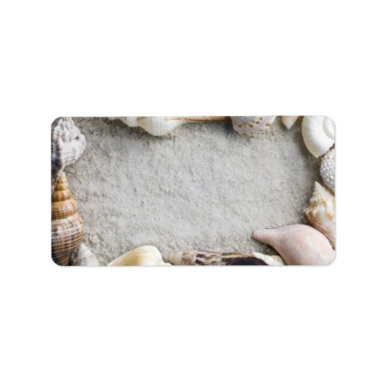 Sea Shell Sand Background - Beach Shells Customize Label