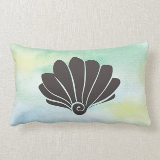 Sea Shell Silhouette on Watercolor Green Lumbar Pillow