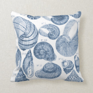 Sea Shell Sketch, Blue & White Throw Pillow